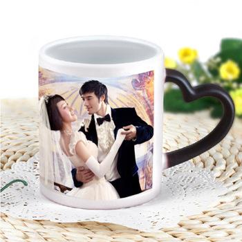 Color changing diy luminous water cup ceramic lovers gift heat transfer printing