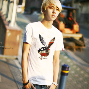 2 2013 summer men's clothing rabbit personalized fashion white short-sleeve men's T-shirt plus size t-shirt(China (Mainland))