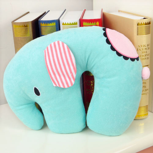 Elephant plush toy doll neck pillow neck pillow car neck pillow cushion kaozhen(China (Mainland))
