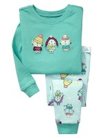 6sets/lot free shipping little girls design cotton pajamas baby sleepwear 2pcs clothes set