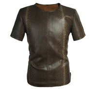 Latest Design Sexy Cool Fashion Men Leopard Pu Faux Leather Snakeskin Pattern Stripe T-shirt Male Breathable Top Shirt Brown