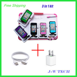 2013 super cool shock proof Waterproof Case for iphone 4 4s + USB snyc charging cable+ USB travel wall charger 3 in 1 kit(China (Mainland))