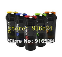 Free Shipping  2013  Discount The New Special VASILIAS  Black 3 In 1  Protein Powder Shaker Bottle   500ML