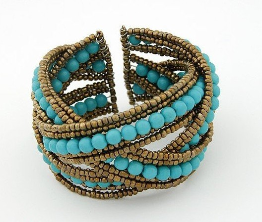 Wholesale,10pcs/lots,2013 Fashion Bohemian style Braid Blue Beads Wide Cuff Open Bracelet Bangle for Women,Free Shipping!JC ShOp(China (Mainland))