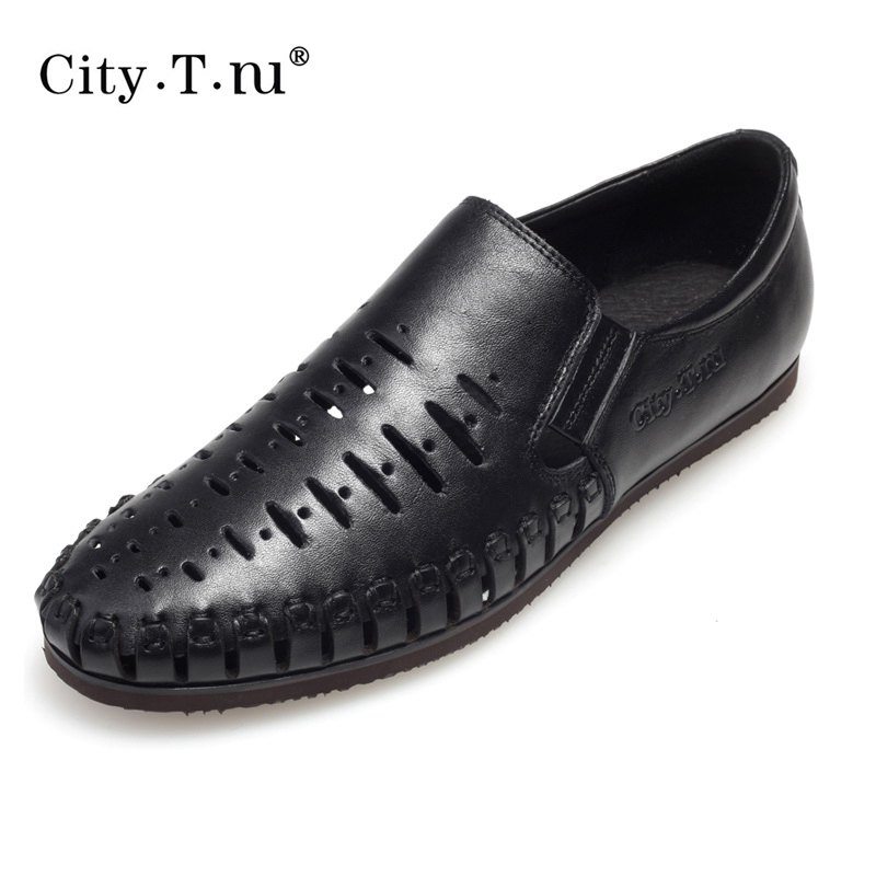 City summer male commercial boat casual shoes breathable shoes leather sandals hole shoes(China (Mainland))