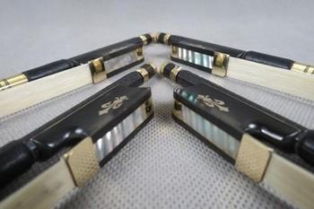 Quality 4Pcs High quality plaid  black Carbon fiber Cello bow 4/4,inlay flower frog