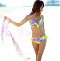 Free Shipping floral bikini big hot spring swimwear steel bikini 3piece/set split ladies swimwear