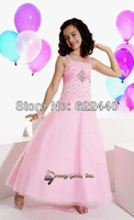 Pink Organza Beaded A-line Free Shipping Girls Party Dress Custom Size/Color