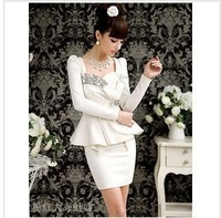 2012 super flash diamond gem noble ladies bow sexy party tight dress free shipping S103
