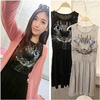 CREW NECK SLEEVELESS BUTTON-SHOULDER TUNIC DRESS WITH Animal Pictures DRESS Q168