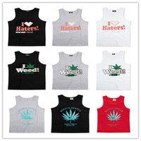 Hot Sale Weed Cotton Tank Top Haters Hip Hop Vest Cool Men Singlet Summer Sleeveless Apparel Upper Garment Mix Order