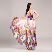 Free Shipping 2014 Fashion high quality Bohemia Flower Tank Bra Chiffon Long Dress, plus size Lady's Summer Maxi Dress V-neck