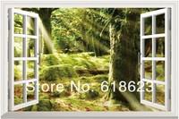 HD Pattern  fake windows sticker 105*70cm sofa background  pvc  art mural home decor Removable wall sticker  fj-26