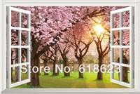 HD Pattern  fake windows sticker 105*70cm sofa background  pvc  art mural home decor Removable wall sticker  fj-18