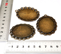 6PCS 5.5x3.5CM Antique Bronze Alloy Metal Oval Mirror Plate Charms Pendants with Hole DIY Jewelry Findings