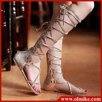 Sale women's summer leisure cross straps lace-up long cool boots cut-outs flat cover heel sexy sandals S087