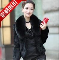 leather coat 2013 real  fur coat black real  fur rabbit real  fur fox real  fur oversized full leather