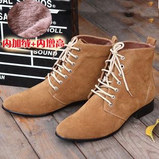 Male winter shoes fashion thermal cotton-padded shoes outdoor shoes trend of the high leather boots scrub pointed toe leather(China (Mainland))
