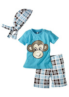 New Arrival Monkey Baby suit sets, kid's Clothes Set,infant beachwear,beach coat sets,Turban+short shirt+pants,3pcs/sets,5 sizes