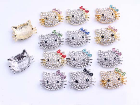 Wholesale 20pcs lovely kitty cat Crystal Alloy bead FOR Pave Disco making bracelets Multi Color(China (Mainland))
