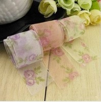"120 Yards 1""25mm 3 colors mixed Organza Sheer Ribbon rose printing Wedding Party Favor Decoration DIY Garment Accessories Gift"