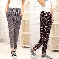 candy color casual harem pants high waist ankle length trousers plus size clothing elastic harem pants  Min order:$10
