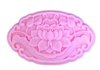3D oval shape lotus flower handmade soap mould Mooncake chocolate cookie cake dry paste baking mold r1059 Free shipping