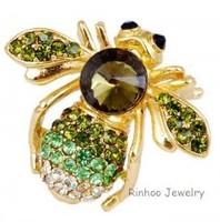Fashion  Wedding Party  Full CZ  Rhinestone Alloy  Gold Plated Cute  Bee Brooch  Pin  Woman And Man  Wear