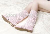 2014 summer cow muscle slip-resistant handmade knitted crochet boots high-leg boots