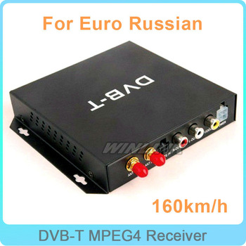 Free Shipping Car Mobile Digital DVB-T MPEG4 TV Receiver Box With Twin Antenna Up to 160km/hour