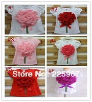1 pc retail! baby girls tee t-shirts childrens Tee Babys Tshirt girl's t shirt flowers t shirts top wears tops