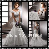 2013 Best Selling New Style Designer Off Shoulder Short Sleeve Mermaid Bridal Wedding Dresses