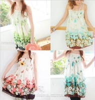 Promotion  Summer Women's Mini Bohemia elastic corset floral printed chiffon condole belt skirt dress falbala 5 colors