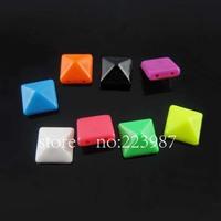 Free shipping 500pcs mixed color multicolor 10mm  Square-shape Rivet Spike acrylic beads   Punk   Bracelets Clothes