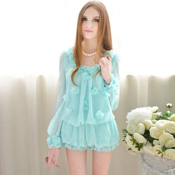 Pink doll genuine 2013 new spring sky blue applique long sleeve lantern chiffon piece pants