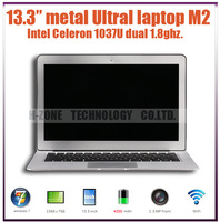 Freeshipping 2013 new cheap  ultra laptop metal case 4G RAM 64G SSD intel celeron 1037U dual 1.8ghz WIFI  HDMI WIN 7 4200mah