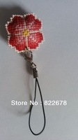 Happiness Flower Phone Ring Finished handmade cross-stitch Phone Chains / Key ChainsFree shipping