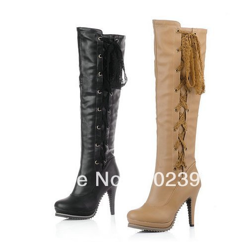 US 4-9 Free shipping 2012 Winter New Arrived Sexy style PU knee high Platforms Lace-up high womens boots pumps shoes JQLLD-161-2(China (Mainland))