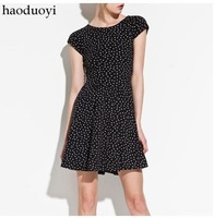 Free Shipping New Fashion Star pattern behind the cross backless stretch short sleeve dress TH7537