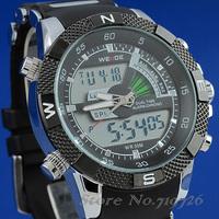 2 PCS/Lot Fashion WEIDE Mens Sports Watch Analog & Digital Dual Time LCD Backlight WH-1104-1 Waterproof Black Dial
