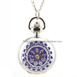 The sweet purple rhinestone flowers retro pocket watch with chain for men and women sweater chain jewelry(China (Mainland))