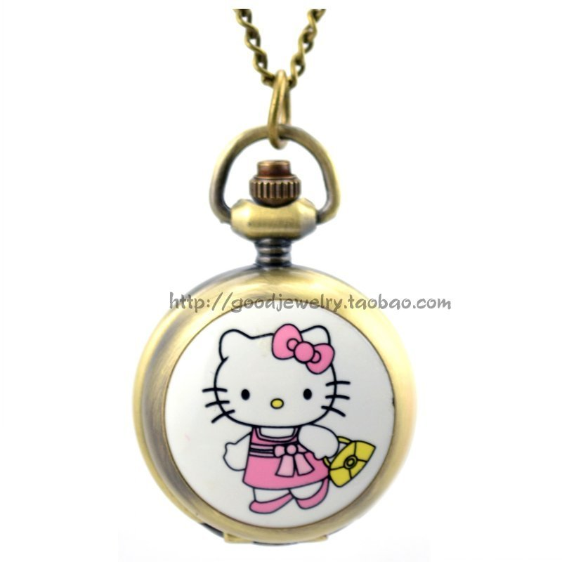pink hello kitty cat pocket watch with long clain(China (Mainland))