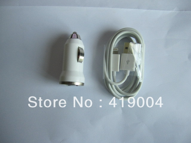 10pcs USB sync Cable + 10pcs Car Charger 2 in 1 kit For Iphone 5 5G ,20pcs/lot(China (Mainland))