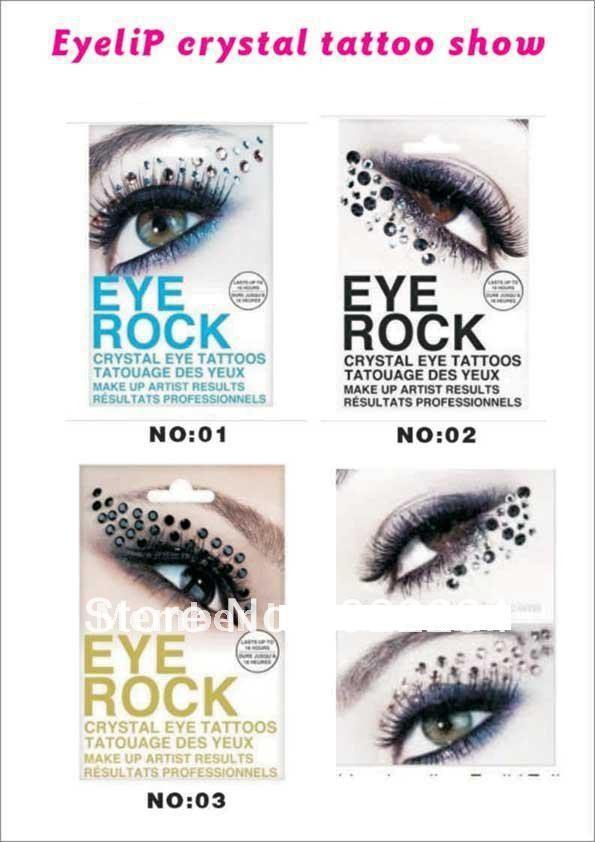 FAST DHL 700Pairs Novelty Temporary Eye Rock Tattoo Sticker/Eyelip Crystal Tattoos Professional Makeup(China (Mainland))