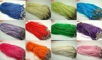 Free Shipping 18'' Ribbon 2/Waxed 1/Organza Necklace Pendant Cords Clasp Chain, 100pcs/lot
