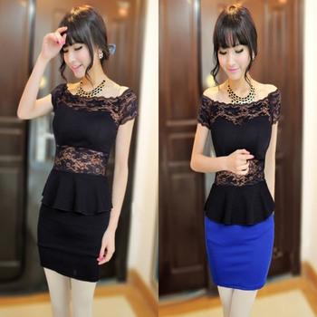 2013 fashion sexy lace decoration slim hip gentlewomen slim one-piece dress