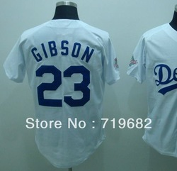 Free Shipping Los Angeles #23 Kirk Gibson Throwback Baseball Jersey,Embroidery and Sewing Logos,Size M--3XL,Accept Mix Order(China (Mainland))