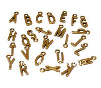 1 Set 26 PCS A-Z Letters Antique Bronze Metal Charms Pendants DIY Bracelet Necklace Cell Phone Case Jewelry Findings