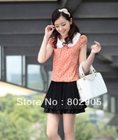 Fashion Lady's Chiffon  DOT Dress 2013 Women one piece dresses free shipping