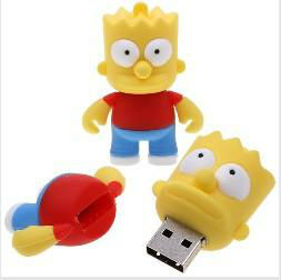 Wholesale Fashion Cartoon Simpsons Bart 4GB USB LED Flash 2.0 Memory Drive Stick Pen/Thumb/Car Free shipp Ub262(China (Mainland))